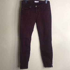 Zara woman burgundy skinny jeans with zippers